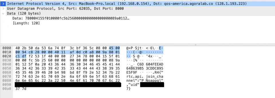 Пакет, отправленный в Agora, содержит в открытом виде идентификатор канала и идентификатор пользователя.