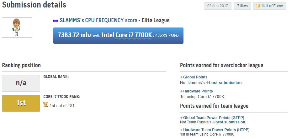 Рекорд разгона Intel Core i7-7700K