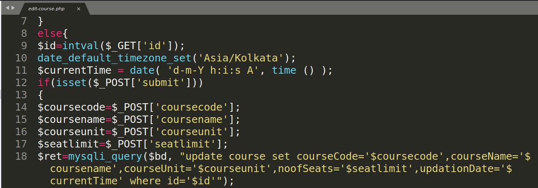 Участок кода из edit-course.php