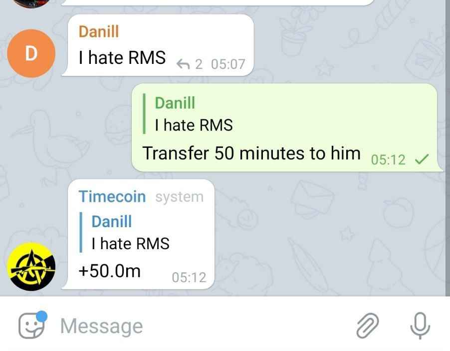 To transfer time to another user, indicate in the answer how much time you need to transfer
