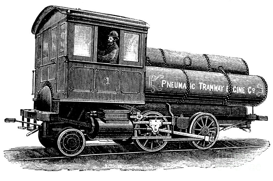 Пневматический локомотив Харди, 1880-е годы.