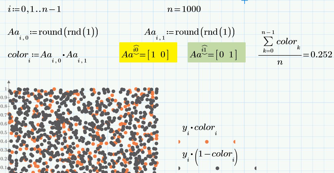 Моделирование цвета рыбок через ее генотип (Mathcad)
