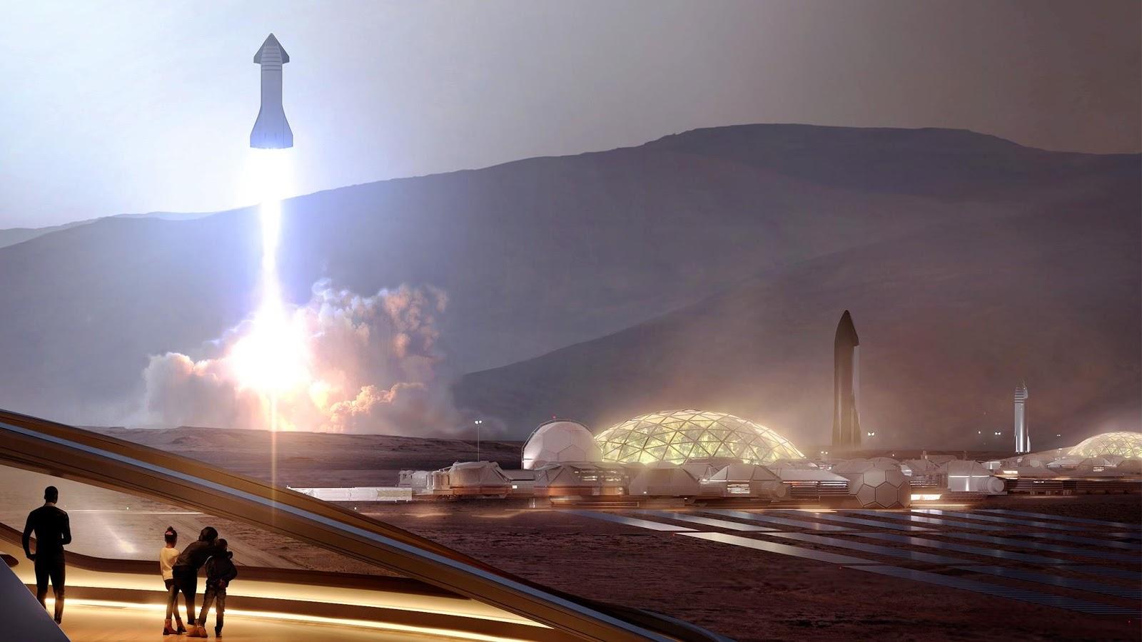 Полностью действующая база на Марсе видение SpaceX