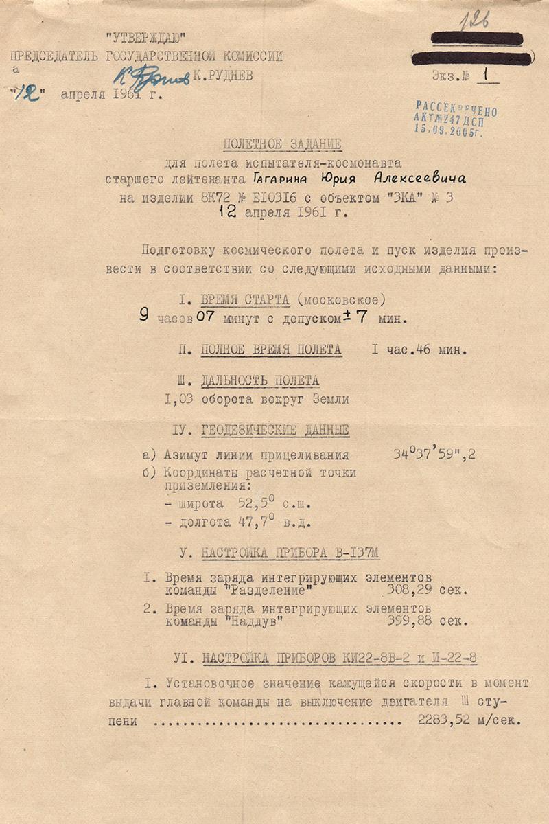 Полётное задание Ю.А. Гагарина