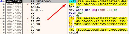 Рисунок 18. Вызов функции с последующим безусловным переходом, SHA256: f89c96a960cef5b5f767990cd990c5a7a55bdf11f8320263ad4eedbe16ba5ec4