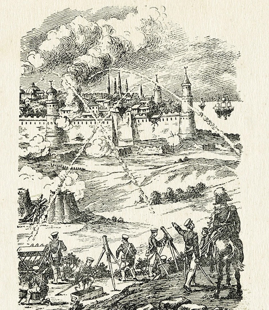 Применение ракет Засядько с однозарядных и многозарядных станков в 1828-1829 гг по представлению художника