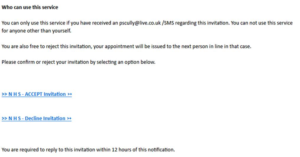 Фишинговое письмо от NHS с приглашением на вакцинацию