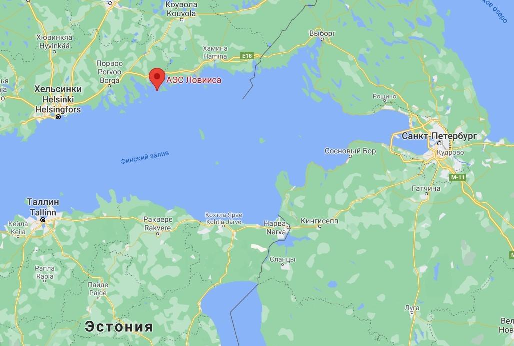 Финская АЭС Ловииса c двумя ВВЭР-440, ближайшая к Санкт-Петербургу иностранная АЭС, 200 км по прямой.