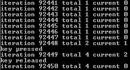 Результат запуска обработки событий клавиатуры в консоли Windows API