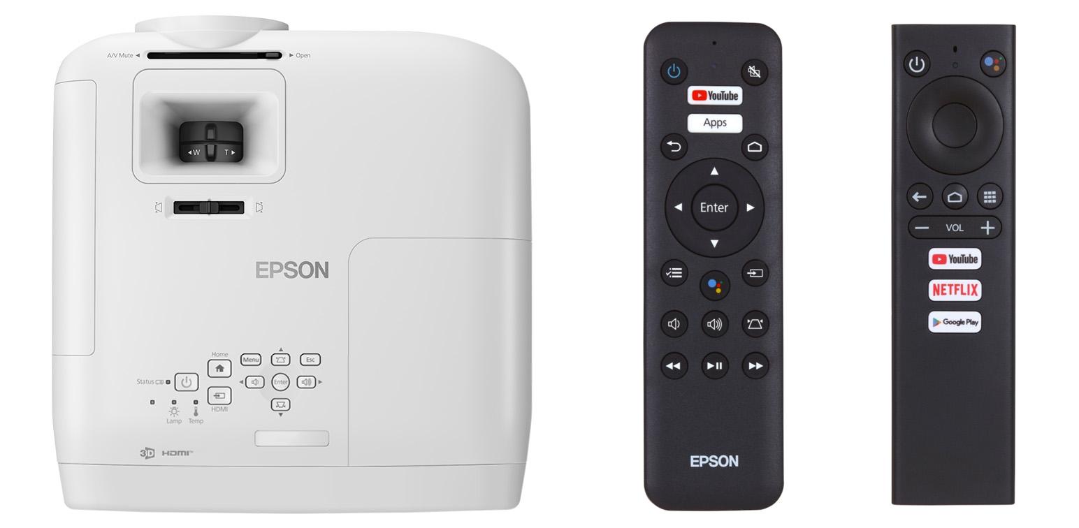 Epson EH-TW5700 и его пульты (обратите внимание на кнопки Google-ассистента  и вызова приложений)