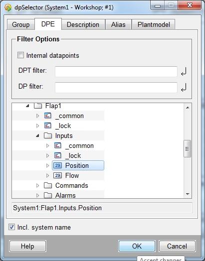 В качестве первого параметры выбрать Flap1.Inputs.Position