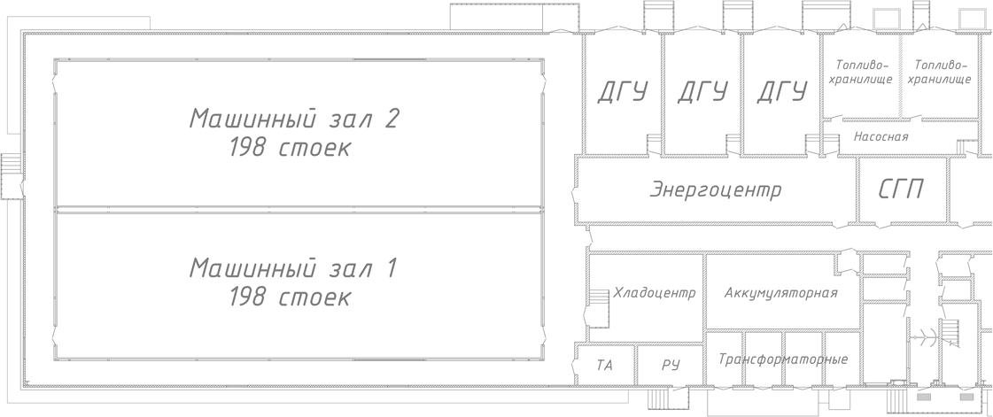 Так на схеме выглядит половина дата-центра. Вторая половина такая же.