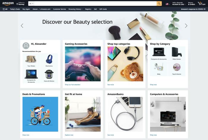 Amazon на главной странице дает пользователям много вариантов