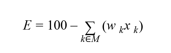 E ∈ [0, 100] ‒ оценка доверия (если E < 0, то E = 0), xk ‒ усредненное за сеанс значение метрики k, wk ‒ весовой коэффициент метрики k, M ∈ {b1,b2,c1,c2,...} ‒ метрики