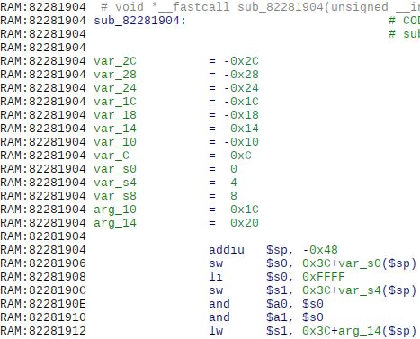 Разжатая функция в оперативной памяти