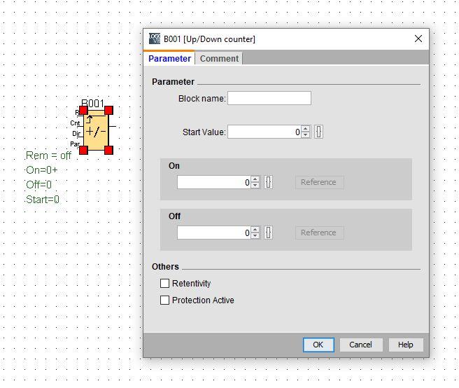 Программный счётчик имеет функцию включения/выключения выходного сигнала при достижении заданных порогов