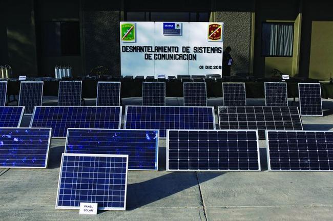 Набор конфискованных солнечных панелей