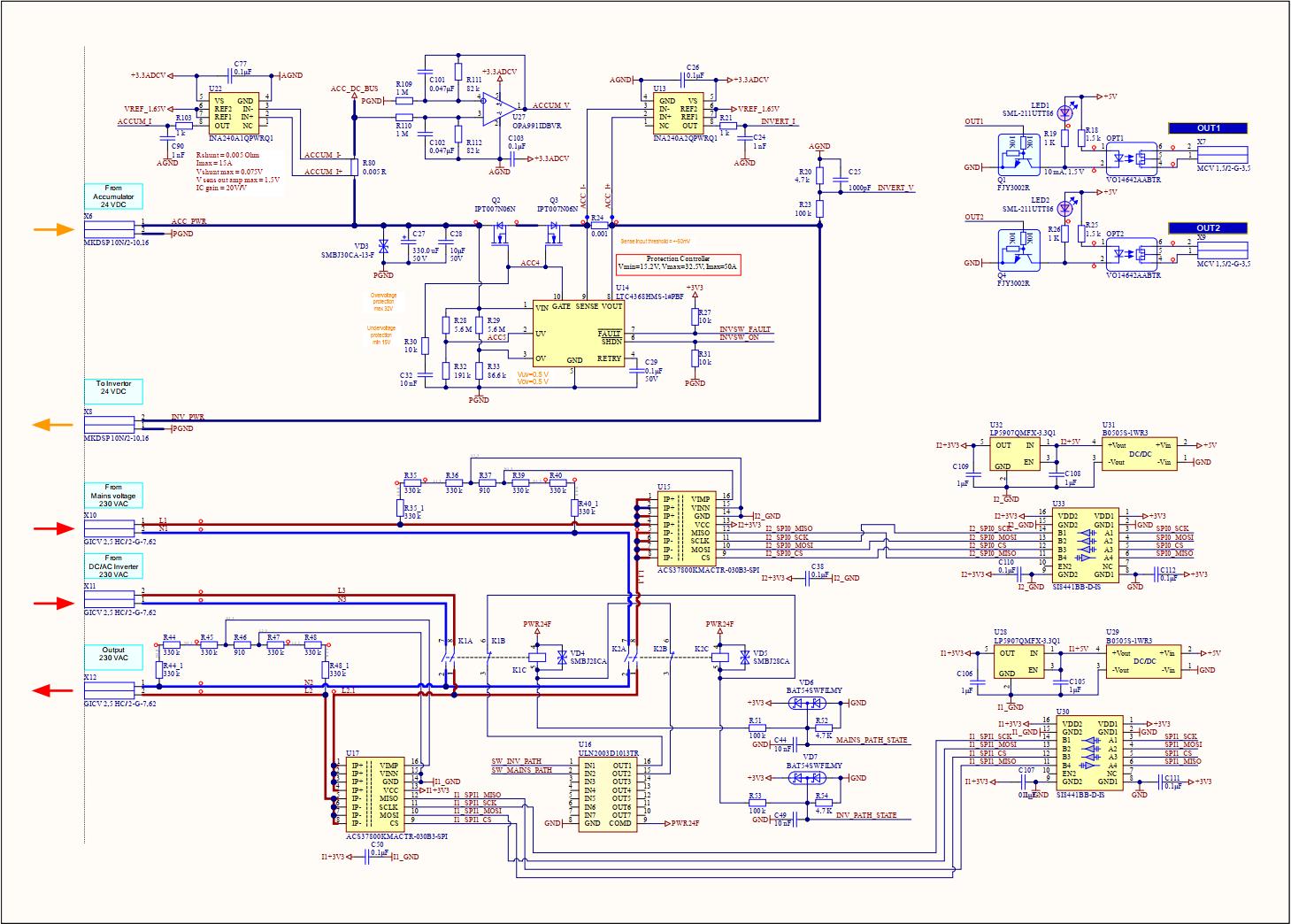 Лист 3. Ключ питания инвертера, измерители в цепи переменного тока, коммутаторы цепи переменного тока