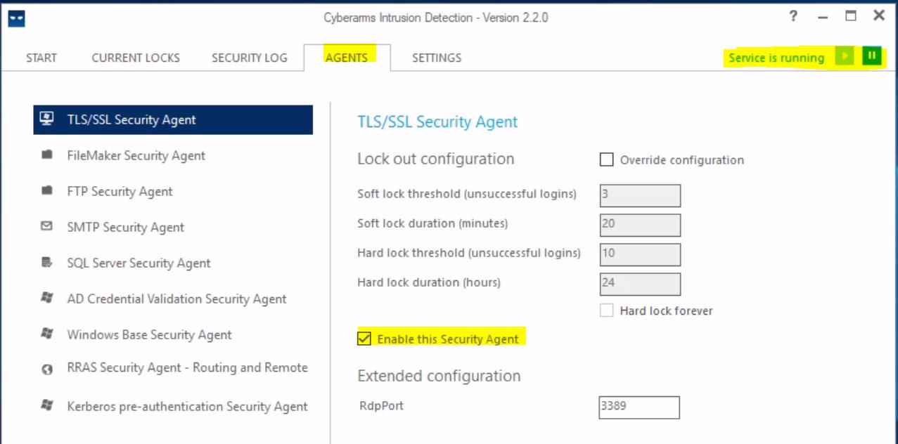 Enable «TLS/SSL Security Agent»