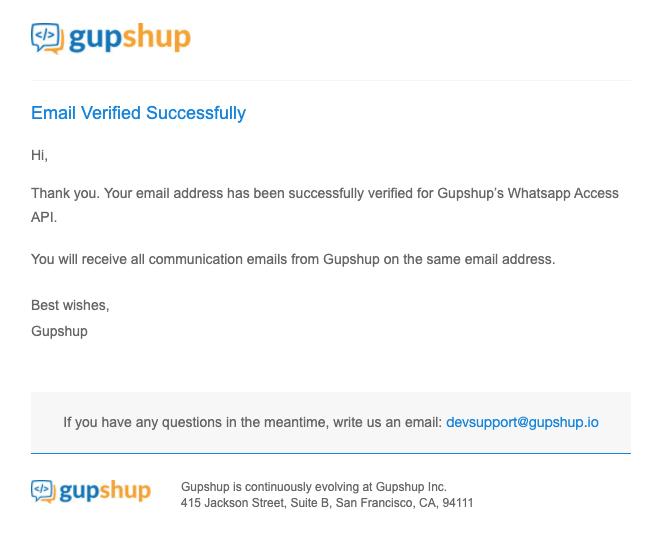 Письмо, что email успешно верифицирован
