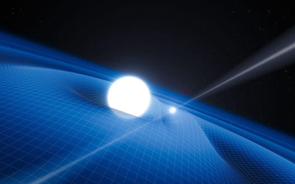 Пульсар с массивным двойным компаньоном, особенно компактным компаньоном, таким как белый карлик, другая нейтронная звезда или чёрная дыра может испускать значительное количество гравитационных волн. Такое излучение вызовет изменение временных наблюдений пульсара, что позволит проверить теорию относительности (ESO/L. CALADA)