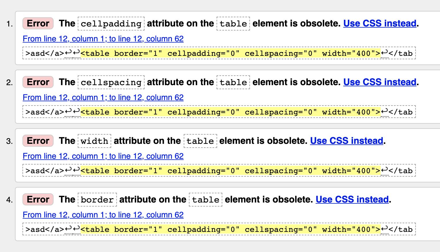 Рис 3. Устаревшие атрибуты таблицы