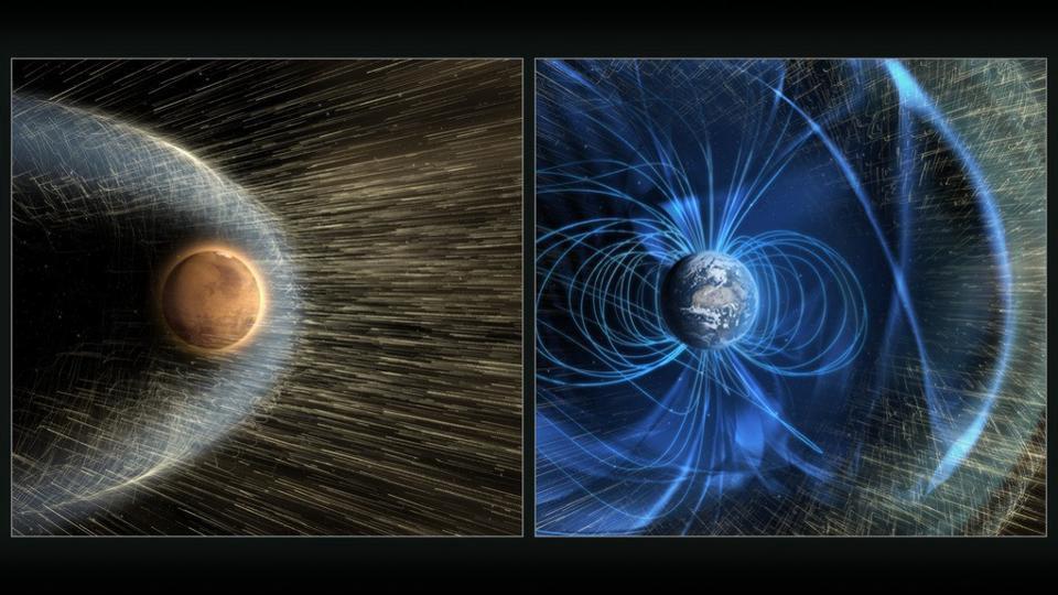 У Красной планеты нет магнитного поля, защищающего её от солнечного ветра. Это означает, что планета теряет атмосферу, чего не происходит на Земле. Время, в течение которого Марс потеряет атмосферу, подобную земной, составляет всего 10 миллионов лет, с другой стороны, магнитное поле Земли остается в неизменном состоянии в течение многих миллиардов лет; такая ситуация ни в коем случае не может привести к обитаемости подобной земной
