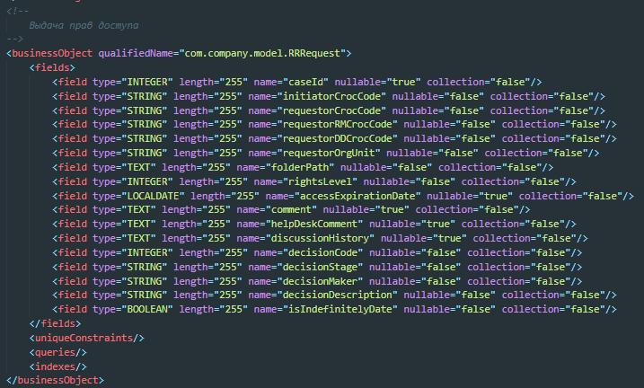 XML-схема, которую генерит Bonita на основе business data model. Далее в соответствии с этой схемой будут созданы таблицы в БД
