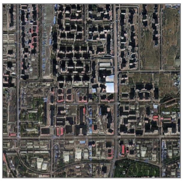 То, что может показаться изображением Такомы, на самом деле является имитацией, созданной путем переноса визуальных паттернов Пекина на карту реального района Такомы