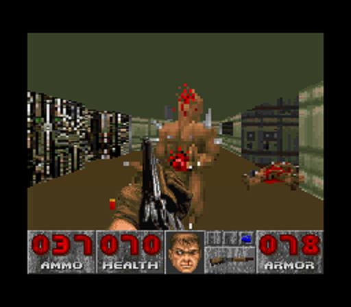 SNES версия Doom легко узнаётся по отсутствию текстур пола и потолка