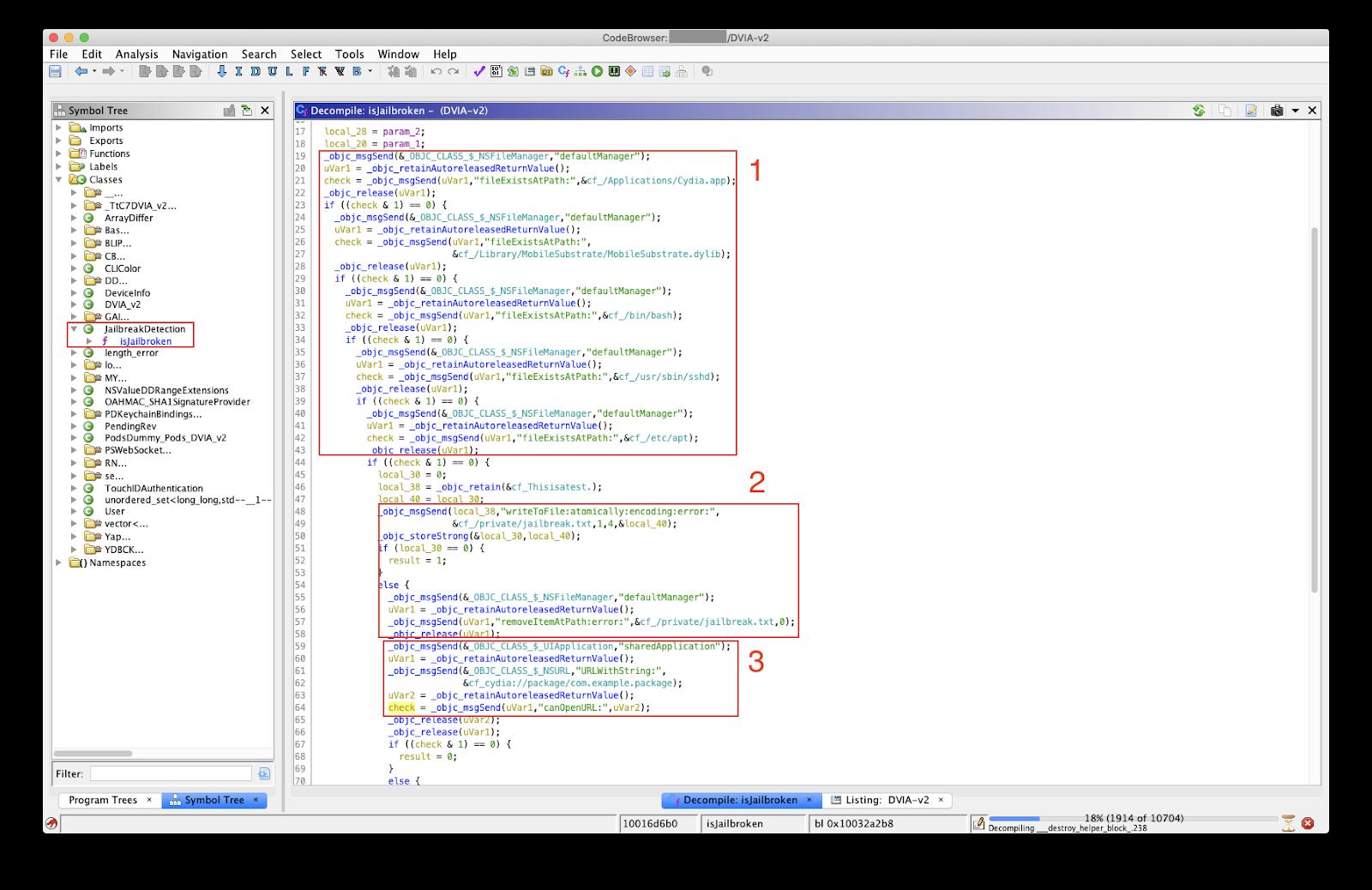 Декомпилированный код проверки на джейлбрейк в Ghidra