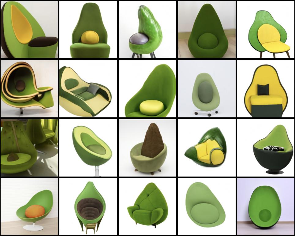 """Изображения сгенерированные DALL · E на основании текстового описания """"кресло в форме авокадо"""""""