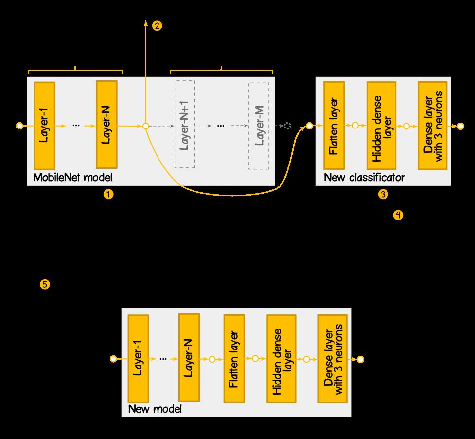 Рисунок 6 – Структурная диаграмма по созданию новой модели на базе обученной модели MobileNet
