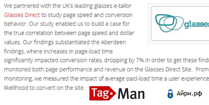Ускорение сайта: Glasses Direct
