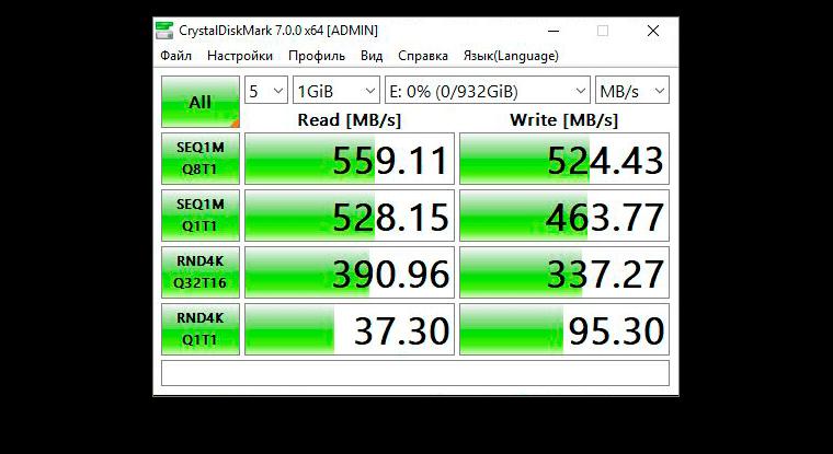 CrystalDiskMark WD, Blue 3D NAND SATA