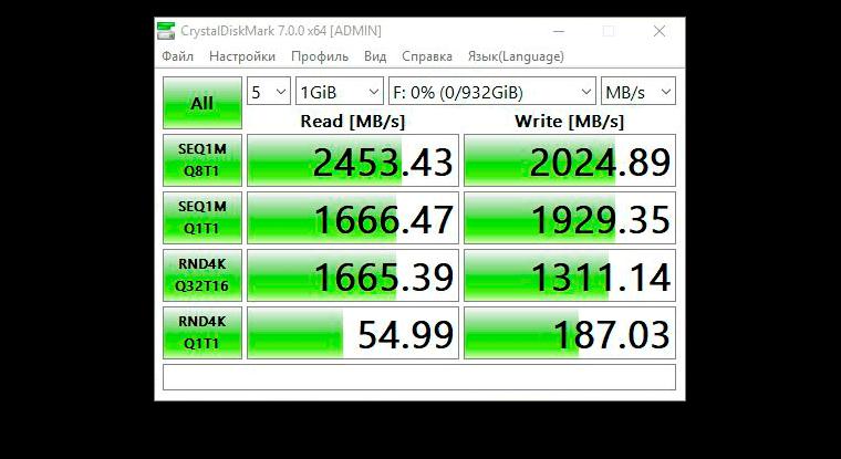 CrystalDiskMark, WD Blue SN550 NVMe