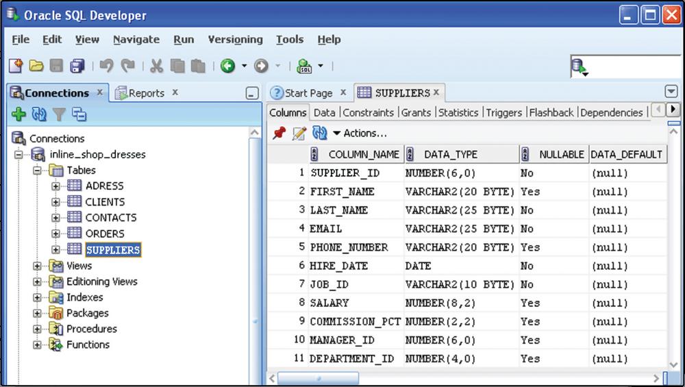 Пример базы Oracle