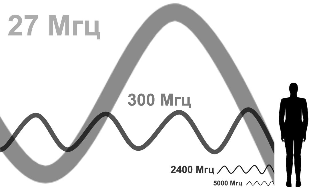 Длины радиоволн различной частоты по сравнению с телом человека. Амплитуды у них могут быть вполне одинаковые, так что не обращайте внимания на разницу в вертикальном масштабе и жирноту линий, это как говорится artist view.