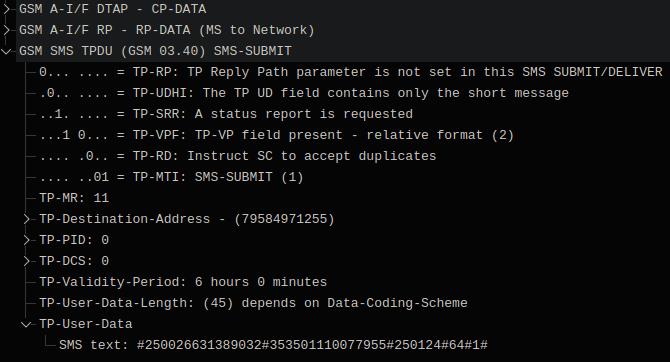 Отправка сообщения с IMEI и IMSI на номер 79584971255