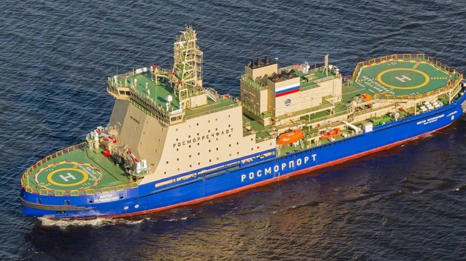 Самый мощный (ок 34 тыс. л.с.) построенный в России дизель-электрический ледокол «Виктор Черномырдин»
