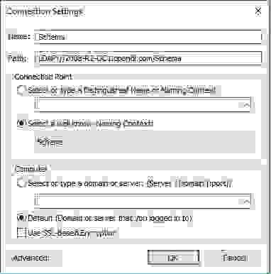 Подключение к схеме (schema) AD в ADSIEdit