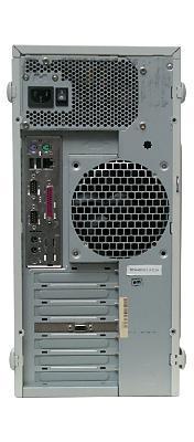 Вид системного блока Эльбрус‑90микро вконструктиве «башня» сзади