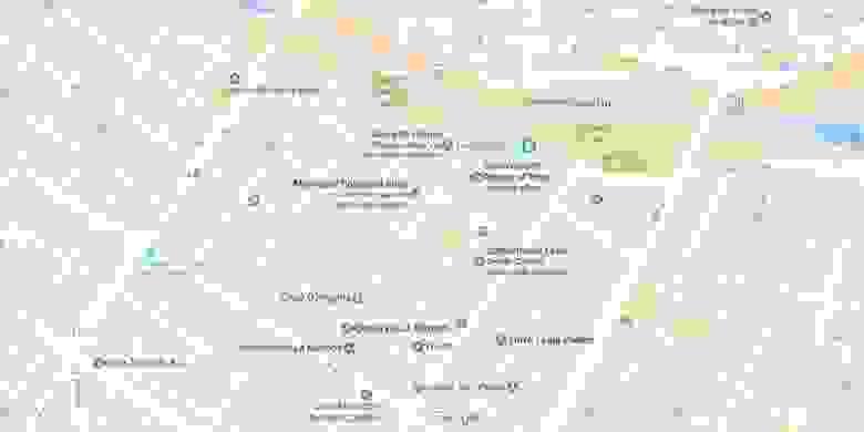 Обычная карта Google с указанием достопримечательностей