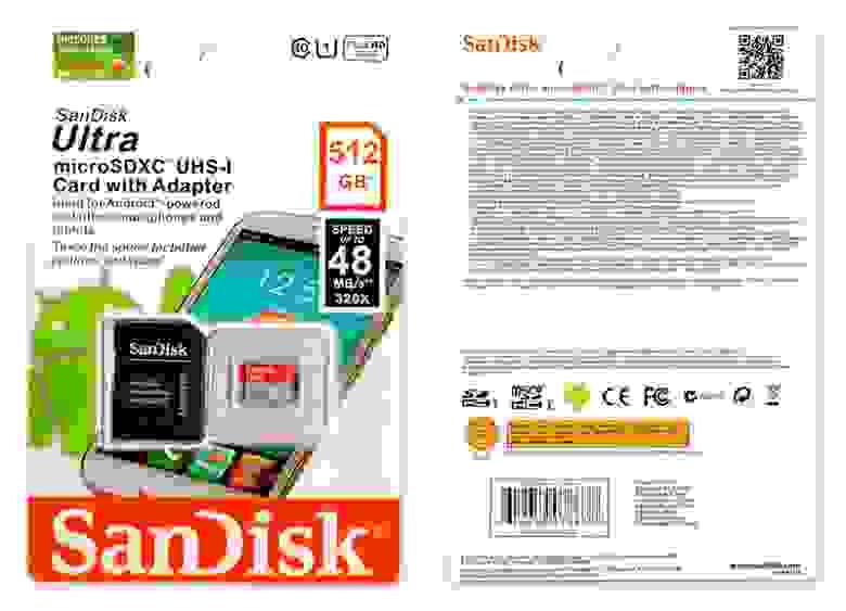 Подделка на Sandisk Ultra 512GB Micro SD