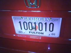 binary license plate