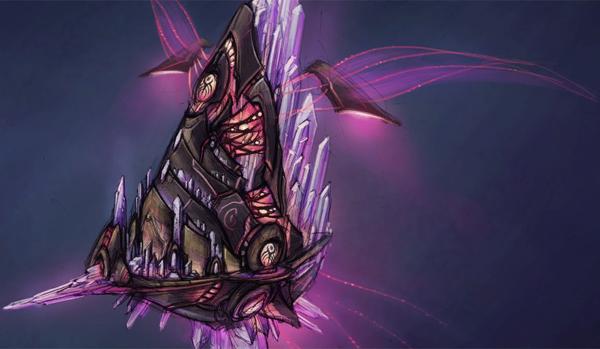 A naaru Dimensional Ship in concept art