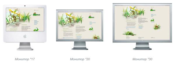 Отображение эластичного сайта на различных мониторах