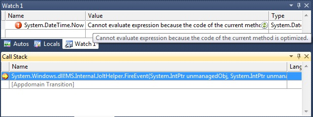Optimized code disables FuncEval