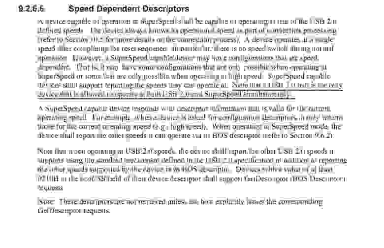 Спецификация USB 3.0 о независимой работе USB-портов (Speed Dependent Descriptions)