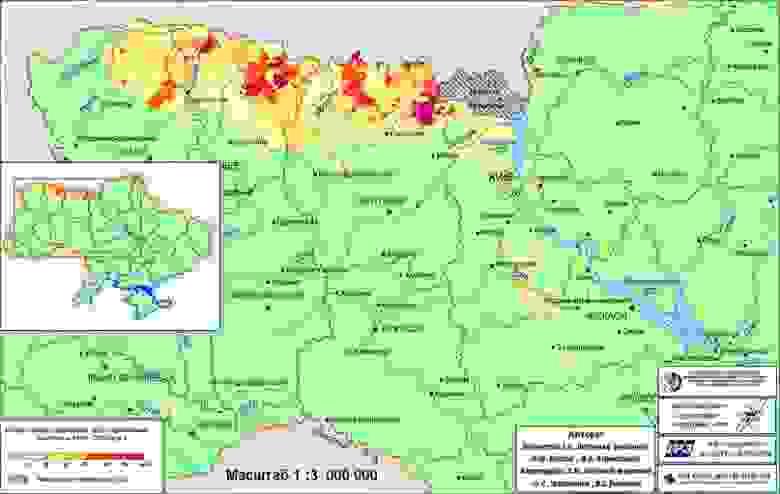 Карта загрязнения Украины в 90-х